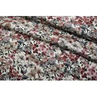 Плательная вискоза атласная цветы на кремовом CMF-H6 30012135