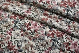 Плательная вискоза атласная цветы на кремовом CMF-H2 30012135