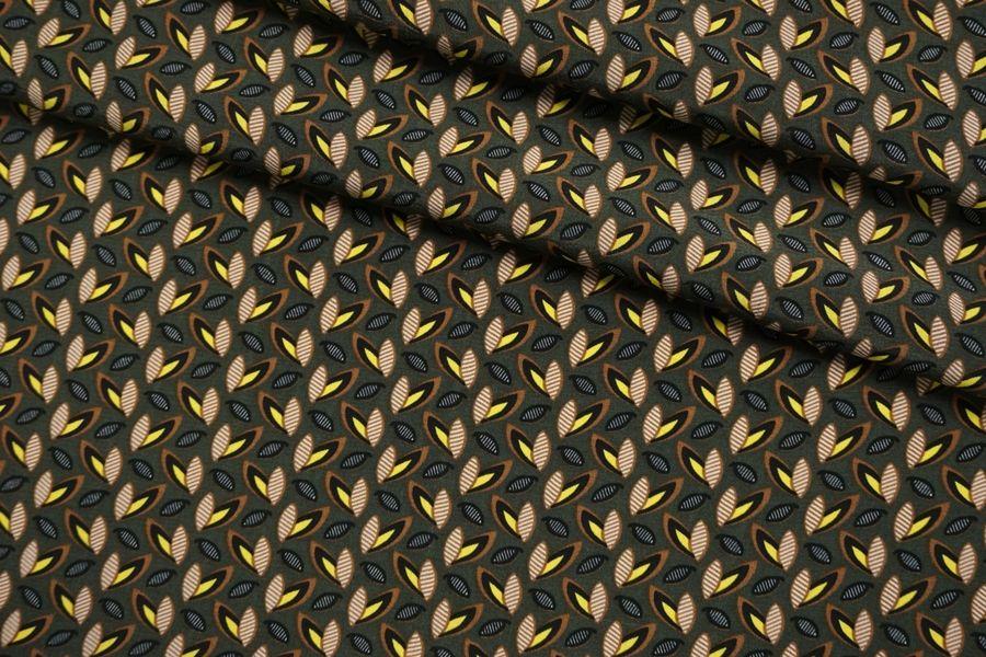 ОТРЕЗ 1,45 М Креповая вискоза листья на темно-зеленом SMF-(33)- 30012144-1