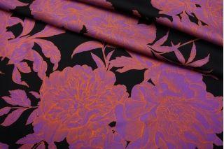 Твил шелковый цветы на черном SMF-M50 30012181