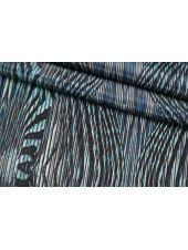 Крепдешин тонкий орнамент сине-бирюзовый SMF-BB5 30012183