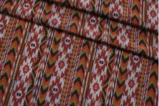 Крепдешин тонкий ETRO орнамент бордово-горчичный SMF-AA4 30012184
