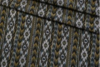 Крепдешин тонкий ETRO орнамент синий-хаки SMF-N40 30012185