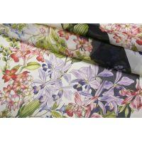 Шифон шелковый цветы на полоске CMF-O50 30012193