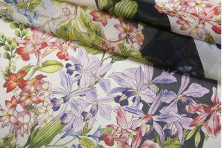 Шифон шелковый цветы на полоске CMF-AA3 30012193