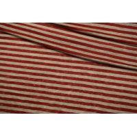 Трикотаж льняной в полоску красно-бежевый Burberry CMF 30012196