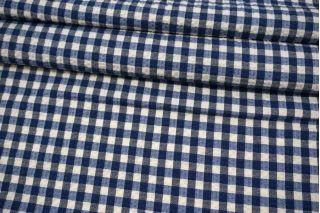 Хлопок рубашечный сирсакер в клетку сине-белый FRM-A10 29072103