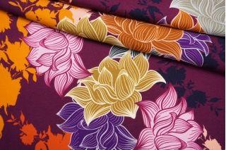 Твил плательный яркие цветы на темной фуксии NST-H4 14022183