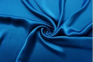 Атлас вискозный тонкий синий Forte Forte TRC 25032146