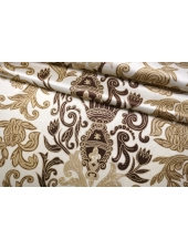 Атласный шелк бежевый орнамент BRS-AA4 26022195