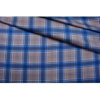 Твил шелковый в клетку сине-кофейную BRS-M50 27022102