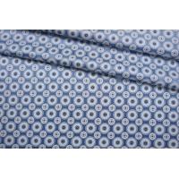 ОТРЕЗ 1 М Атласный шелк голубой орнамент BRS-(53)- 27022104-1