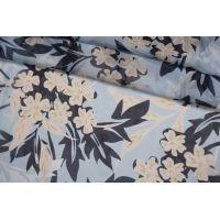 Батист вискоза с шелком цветы на голубом фоне FRM-O50 27022183