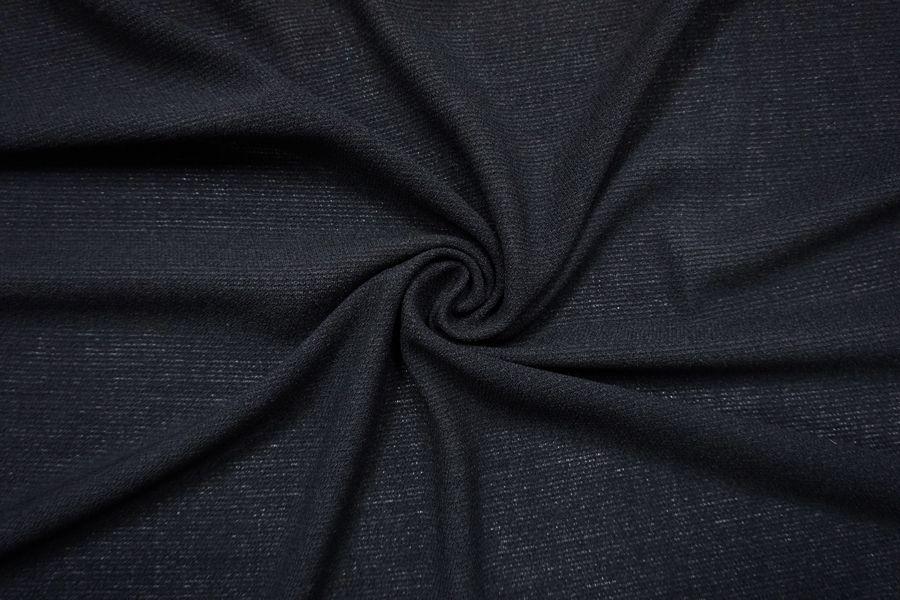 ОТРЕЗ 1,7 М Плательный креп шерстяной синевато-черный TXH-(44)- 11012149-1