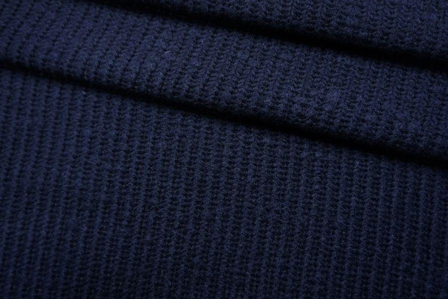 ОТРЕЗ 1,3 М Трикотаж вязаный шерстяной темо-синий TRC-(16)- 11012155-1