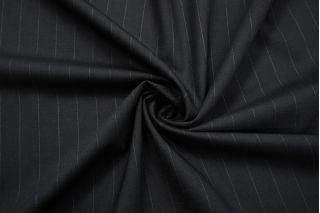 Тонкая костюмно-плательная шерсть черная в полоску SR-C3 23122035