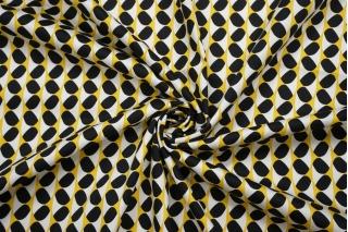 Сатин костюмно-плательный желто-черно-белый FRM-G2 14022126