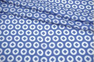 Сатин плательно-блузочный бело-голубой круги и ромбы MII-H50 04082110
