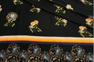 Атлас плательно-блузочный цветы на черном фоне каймовый MII-j30 04082130