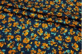 Сатин плательно-рубашечный цветы на темно-синем фоне MII-A50 04082131