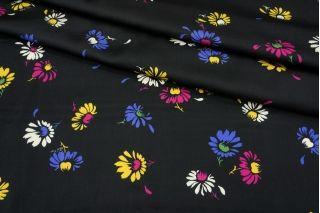 Атлас плательно-блузочный цветы на черном фоне MII-j30 04082134