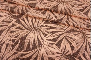 Креповая вискоза крупные персиковые листья на коричневатом фоне MII-H60 04082142