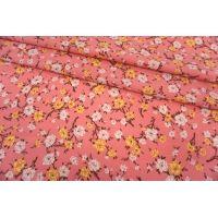 Креповая вискоза цветы на розовом фоне MII-H30 04082143