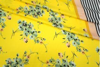 Сатин плательно-блузочный цветы на желтом фоне каймовый MII-H50 04082149