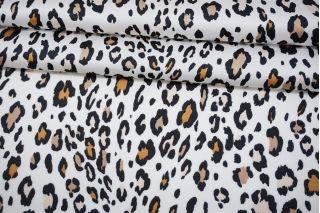 Атлас плательно-блузочный леопардовые пятна на белом фоне MII-J30 05082103