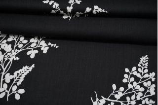 Сатин плательно-блузочный белые цветы на черном фоне MII-H50 05082104