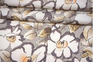 Сатин плательно-блузочный крупные цветы на сером фоне MII-H50 05082105