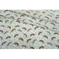 Креповая вискоза леопарды и барсы на светлом мятном фоне MII-H60 05082113