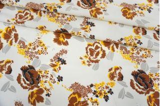 Креповая вискоза коричневые цветы на светло-сером фоне MII-H40 05082136