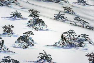 Атлас плательно-блузочный сад на голубовато-белом фоне MII-j30 05082139