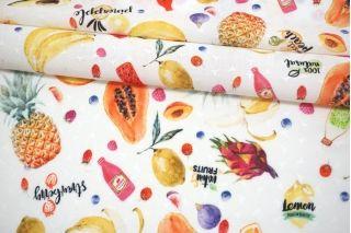 Тонкая вискоза жаккардовая фрукты на белом фоне MII-J50 05082144