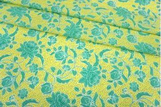 Поплин мерсеризованный бирюзовые цветы на лимонном фоне MII-A40 05082150