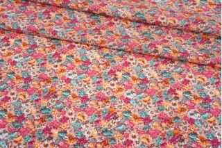 Поплин мерсеризованный разноцветные цветы на розовом фоне MII-A40 06082101