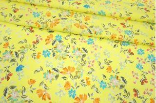 Поплин мерсеризованный цветы на лимонном фоне MII-A40 06082103