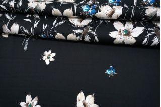 Сатин плательно-рубашечный цветы на черном фоне MII -A30 06082114