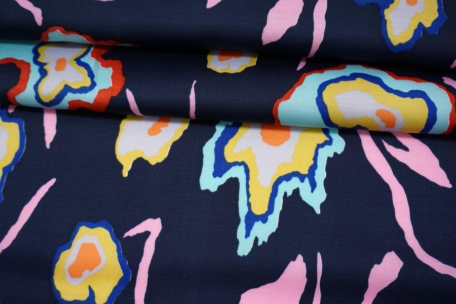Сатин плательно-блузочный абстракция на темном сине-фиолетовом фоне MII-I40 06082115