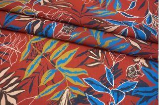 Батист листья на бордово-красном фоне MII-A40 06082120