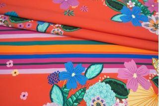 Поплин цветы и полоска на красном фоне КУПОН MII-A30 06082122