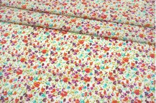 Поплин мерсеризованный разноцветные цветы на белом фоне MII-A30 06082126