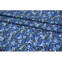 Поплин-стрейч рубашечный синие цветы MII-A30 06082127