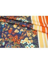 Атлас плательно-блузочный каймовый цветы и полоска MII-H40 06082132