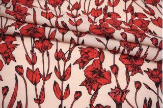 Креповая вискоза ягодные цветы на розовом фоне MII-H60 06082139