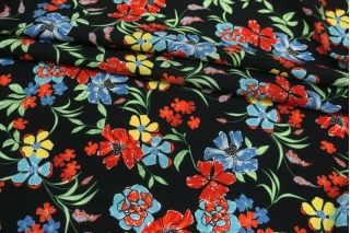 Креповая вискоза разноцветные цветы на черном фоне MII-H20 06082140