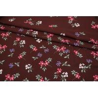 Штапель цветы на темном бордовом фоне каймовый MII-I60 06082143