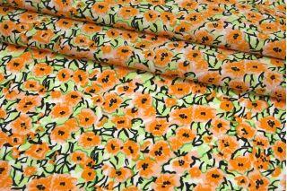 Поплин мерсеризованный яркие оранжево-персиковые цветы MII-A30 06082148