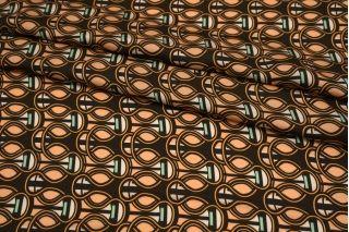 Сатин плательно-блузочный орнамент коричнево-персиковый MII-H40 07082102